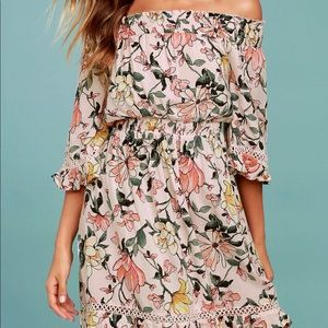 Lulu's pink floral off the shoulder dress